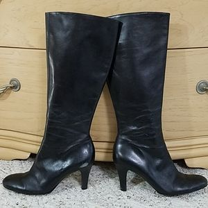 Gianni Bini Black Leather Boots, sz 7.5M